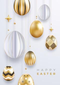 Pasen-groetkaart met realistische gouden verfraaide eieren, sterrenballen en tekst.
