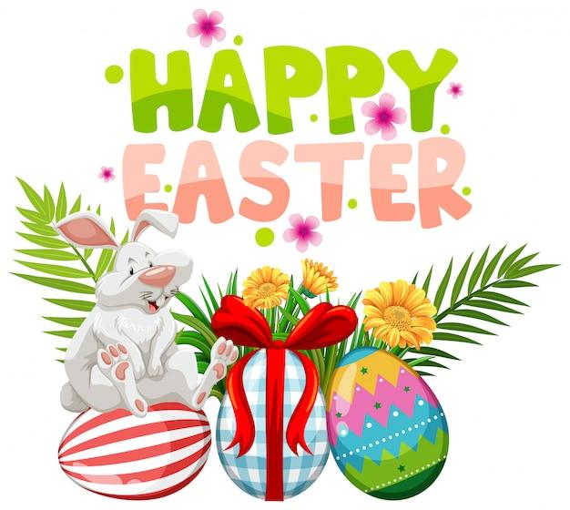 Pasen-groetkaart met wit konijn en geschilderde eieren