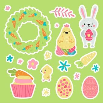 Pasen-groetstickers met konijntje. vector illustratie. set van schattige stripfiguren en ontwerpelementen.