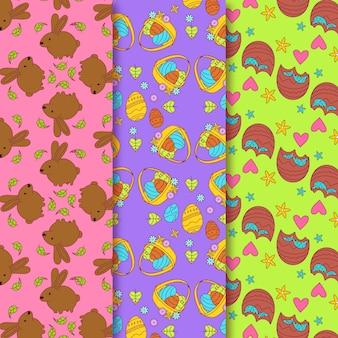 Pasen-hand getrokken patroon met chocoladekonijntjes