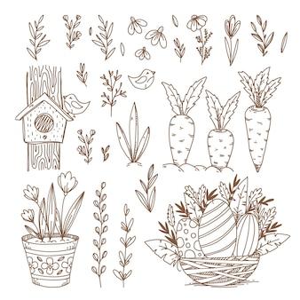 Pasen handgetekende symbolen en objecten