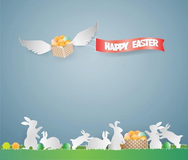 Pasen-het ontwerpmalplaatje van de dagkaart met eieren in mand op de hemel.