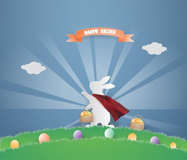 Pasen-het ontwerpmalplaatje van de dagkaart met super konijn op groen gras