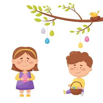 Pasen illustratie. jongen en meisje met gekleurde paaseieren