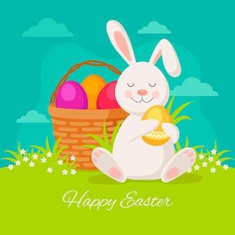 Pasen-illustratie met eieren in mand en konijntje