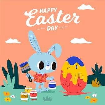 Pasen illustratie met konijn schilderij ei