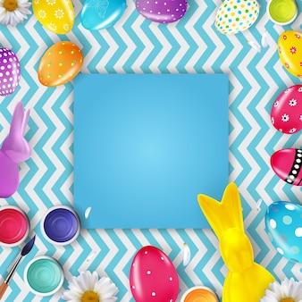 Pasen-kadersjabloon met 3d-realistische paaseieren en konijntje