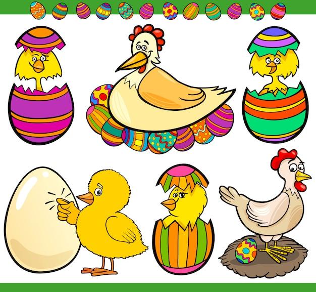 Pasen-kippen geplaatst beeldverhaalillustratie