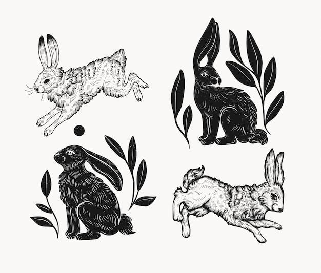 Pasen-konijn in linocutstijl die wordt geïsoleerd. vintage stempelontwerp van een konijn om af te drukken. gebruik voor uw creatieve grafische ontwerpprojecten, litho's, ansichtkaarten, uitnodigingen, tatoeages.