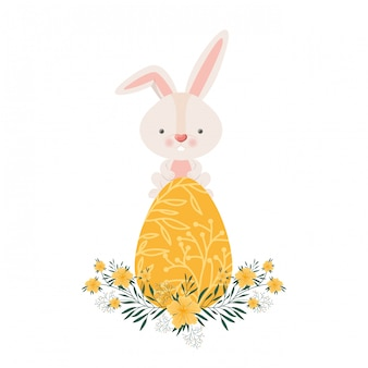 Pasen-konijn met ei geïsoleerd pictogram
