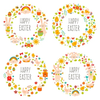 Pasen kransen. leuke doodle lente decoraties, krans met lente-eieren, konijn en bloemen