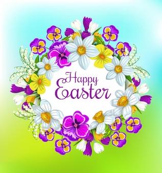 Pasen lente bloemen krans, christelijke religieuze feestdag
