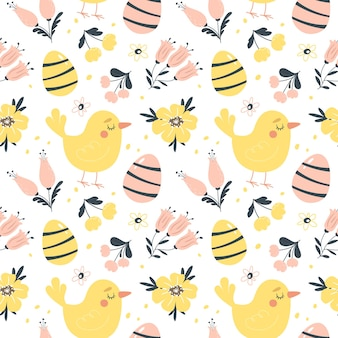Pasen-lente naadloos patroon met leuke vogels, eieren en bloemen. hand getekend platte cartoon elementen. illustratie.