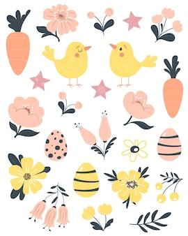 Pasen, lente set met schattige vogels, bloemen, eieren en wortelen.
