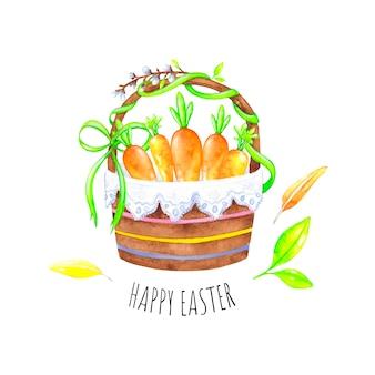 Pasen-mand met eieren, gelukkige pasen-groetkaart