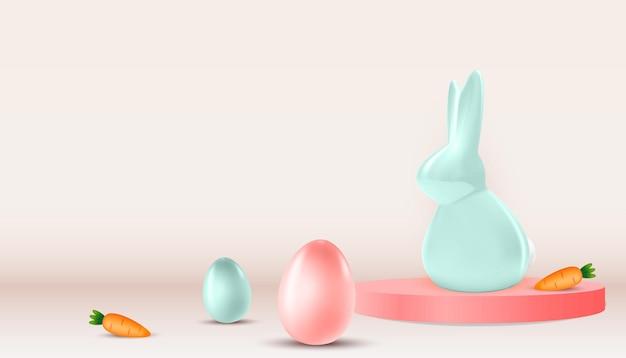 Pasen met realistische paaseieren, konijn en wortel.
