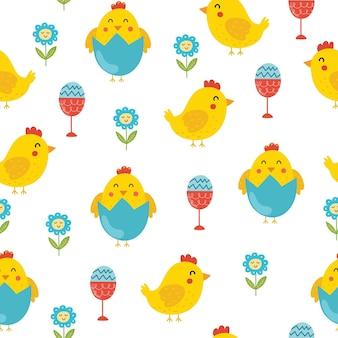 Pasen naadloos patroon met schattige kuikens lentekuiken in eierschaal
