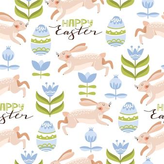 Pasen naadloze patroon met konijnen, eieren, bloemen, bladeren en belettering.