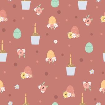Pasen naadloze patroon met pasen-cake en eieren