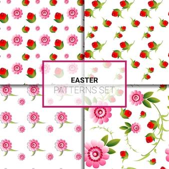 Pasen patronen instellen prachtige bloemen sieraad naadloze lente vintage