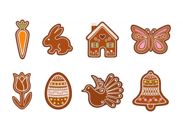 Pasen-peperkoek instellen. wortel, konijn, huis, vlinder, tulp, ei, duif en bel