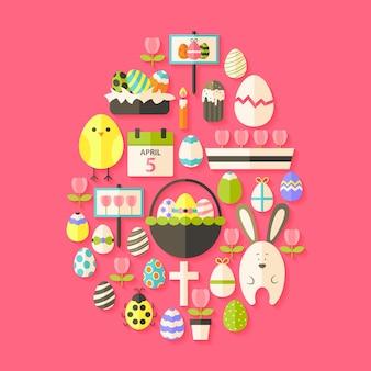 Pasen plat pictogrammen instellen eivormig met schaduw over donker roze. platte gestileerde vakantie iconen set