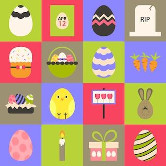 Pasen platte gestileerde icon set 1. platte gestileerde kleurrijke pasen iconen set