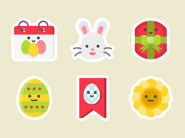 Pasen platte sticker pictogramserie