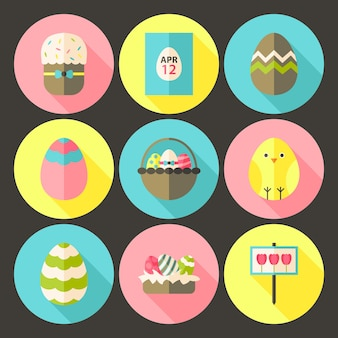 Pasen platte stijl cirkel icon set 1 met lange schaduw. platte gestileerde cirkel vector kleurrijke illustraties