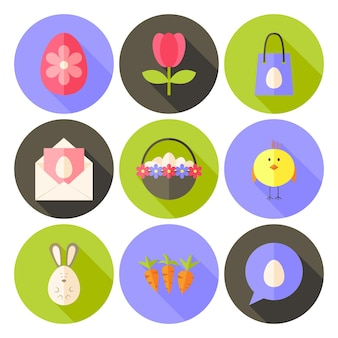 Pasen platte stijl cirkel icon set 2 met lange schaduw. platte gestileerde cirkel vector kleurrijke illustraties