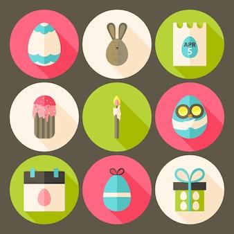 Pasen platte stijl cirkel icon set 3 met lange schaduw. platte gestileerde cirkel vector kleurrijke illustraties