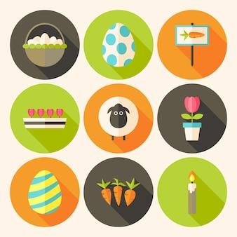Pasen platte stijl cirkel icon set 4 met lange schaduw. platte gestileerde cirkel vector kleurrijke illustraties