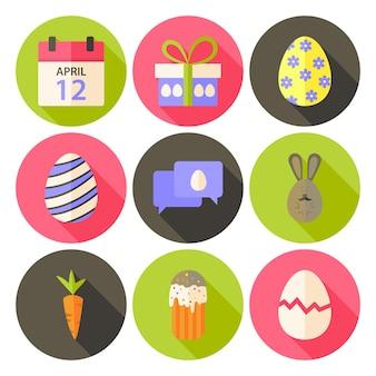 Pasen platte stijl cirkel icon set 5 met lange schaduw. platte gestileerde cirkel vector kleurrijke illustraties