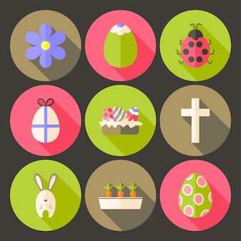 Pasen platte stijl cirkel icon set 7 met lange schaduw. platte gestileerde cirkel vector kleurrijke illustraties