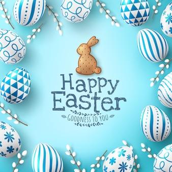 Pasen poster en sjabloon voor spandoek met paaseieren en schattig konijntjeskoekje op lichtgroene achtergrond.