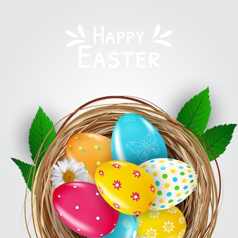 Pasen poster sjabloon met 3d-realistische eieren in nest.