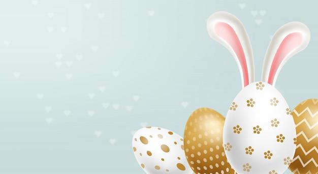 Pasen schilderde gouden eieren en copyspace