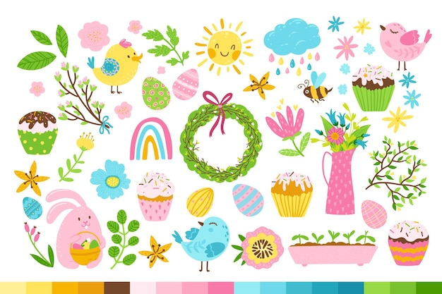 Pasen set met haas, vogels, eieren, zoete cupcakes, lentebloemen.