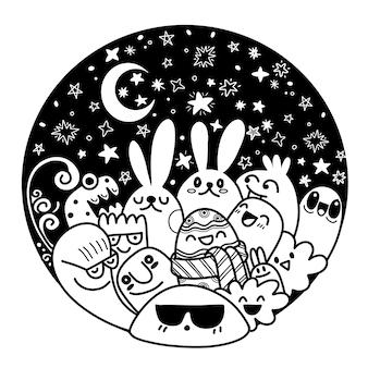 Pasen set met schattige konijntjes, bloemen en eieren. ontwerp in cirkel, elementen en tekens in cartoon-stijl.