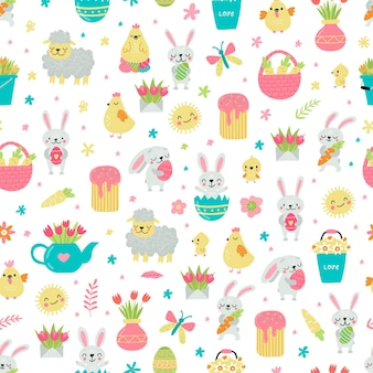 Pasen-stijl met konijnen, eieren en mand in pastelkleuren naadloze patroonillustratie