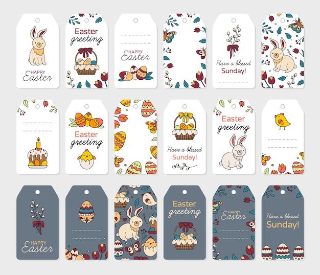 Pasen-tags en labels voor geschenken set kaarten om af te drukken