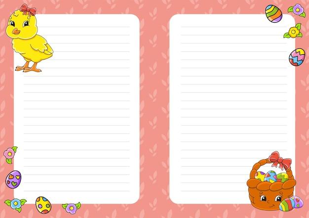 Pasen-thema. gekleurd bladsjabloon voor notities.