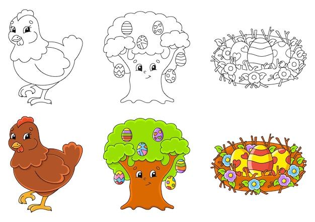 Pasen-thema. kleurplaat instellen voor kinderen.