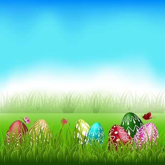 Pasen-thema met boven het kleurrijke ei in gras.