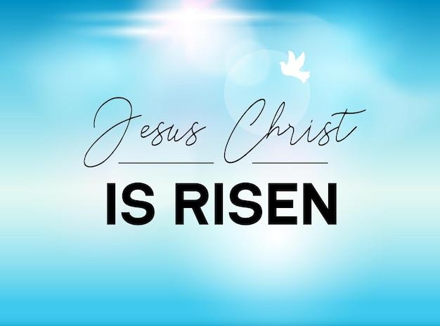 Pasen typografie banner hij is verrezen lucht en zon. jezus christus onze god is opgestaan. christelijke zondagsopstanding voor de kerk.