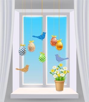 Pasen-venster met gekleurde paaseieren en vogels. kleurrijke lente bloemen kamille, paardebloemen in pot