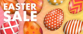 Pasen verkoop belettering met beschilderde eieren