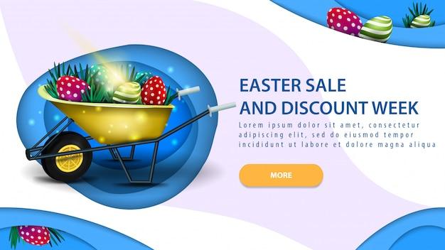 Pasen-verkoop en kortingsweek, moderne blauwe horizontale kortingsbanner