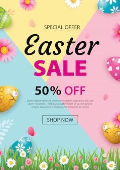 Pasen verkoop sjabloon voor spandoek met kleurrijke eieren.