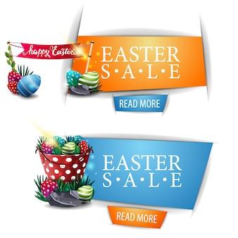 Pasen-verkoop twee kortings moderne banner